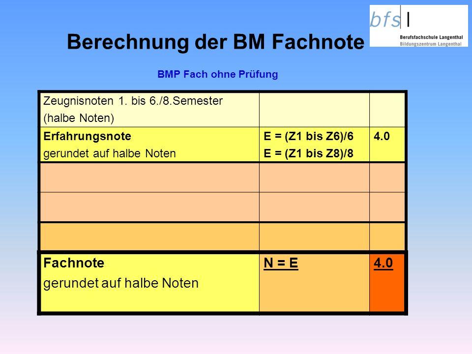 Berechnung der BM Fachnote Zeugnisnoten 1.