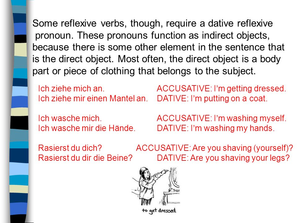 When you're trying to decide whether to use an accusative or dative reflexive pronoun, look at the sentence and determine if there is another element (such as a body part) that is acting as the direct object.