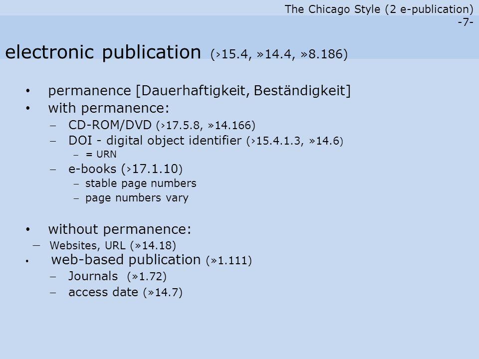 The Chicago Style (2 e-publication) -18- End Part II