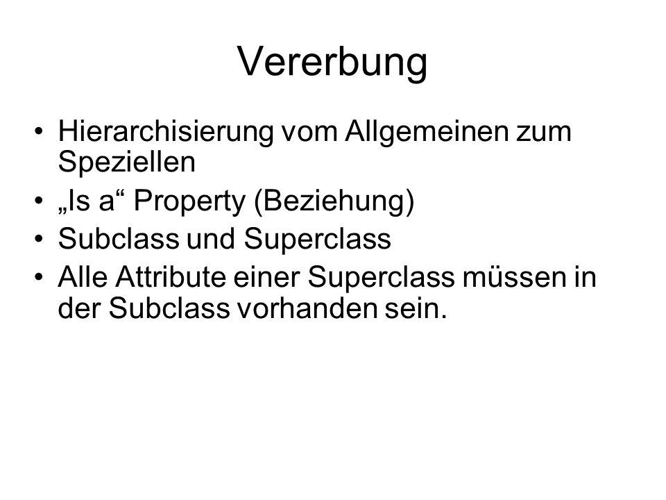 """Vererbung Hierarchisierung vom Allgemeinen zum Speziellen """"Is a Property (Beziehung) Subclass und Superclass Alle Attribute einer Superclass müssen in der Subclass vorhanden sein."""
