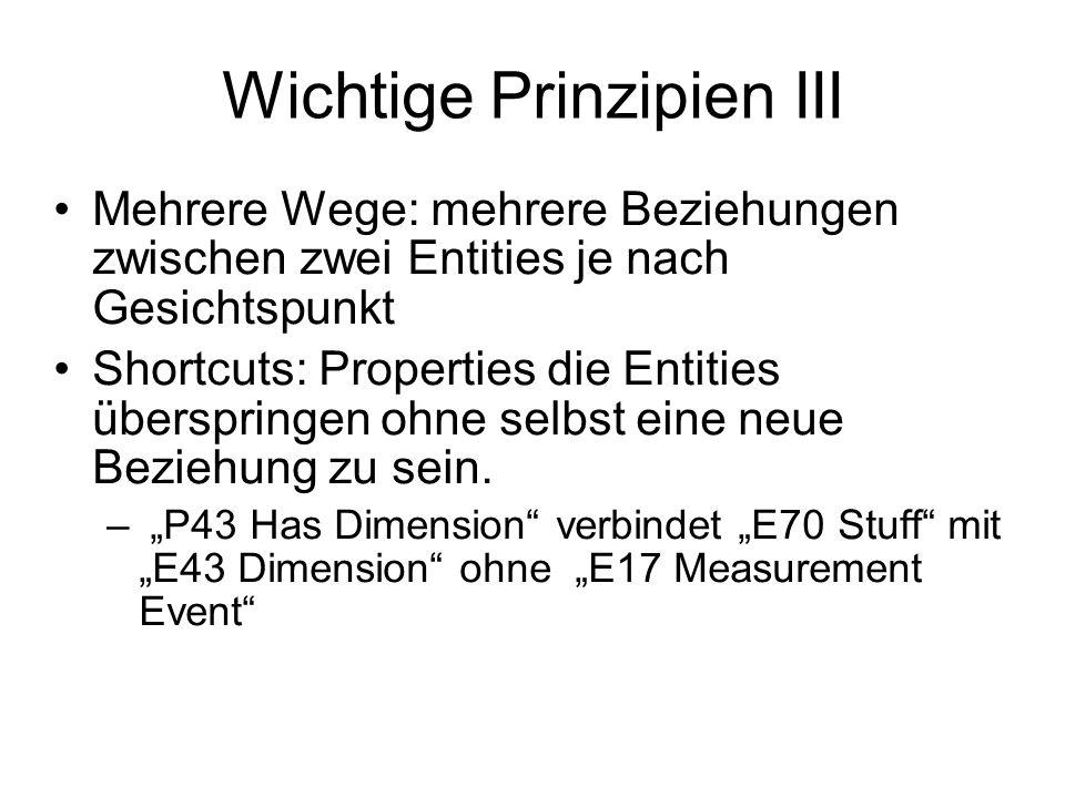 Wichtige Prinzipien III Mehrere Wege: mehrere Beziehungen zwischen zwei Entities je nach Gesichtspunkt Shortcuts: Properties die Entities überspringen ohne selbst eine neue Beziehung zu sein.