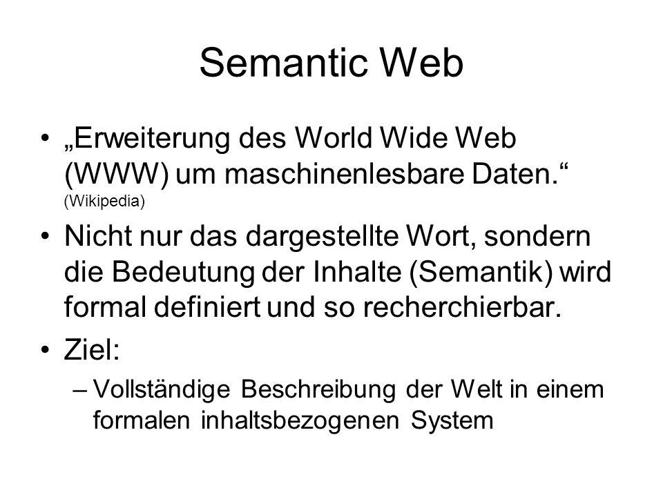 """Semantic Web """"Erweiterung des World Wide Web (WWW) um maschinenlesbare Daten. (Wikipedia) Nicht nur das dargestellte Wort, sondern die Bedeutung der Inhalte (Semantik) wird formal definiert und so recherchierbar."""