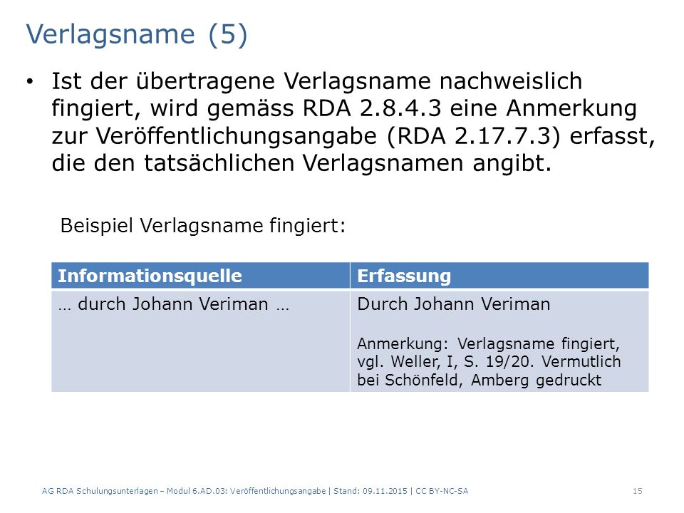 Verlagsname (5) Ist der übertragene Verlagsname nachweislich fingiert, wird gemäss RDA 2.8.4.3 eine Anmerkung zur Veröffentlichungsangabe (RDA 2.17.7.3) erfasst, die den tatsächlichen Verlagsnamen angibt.