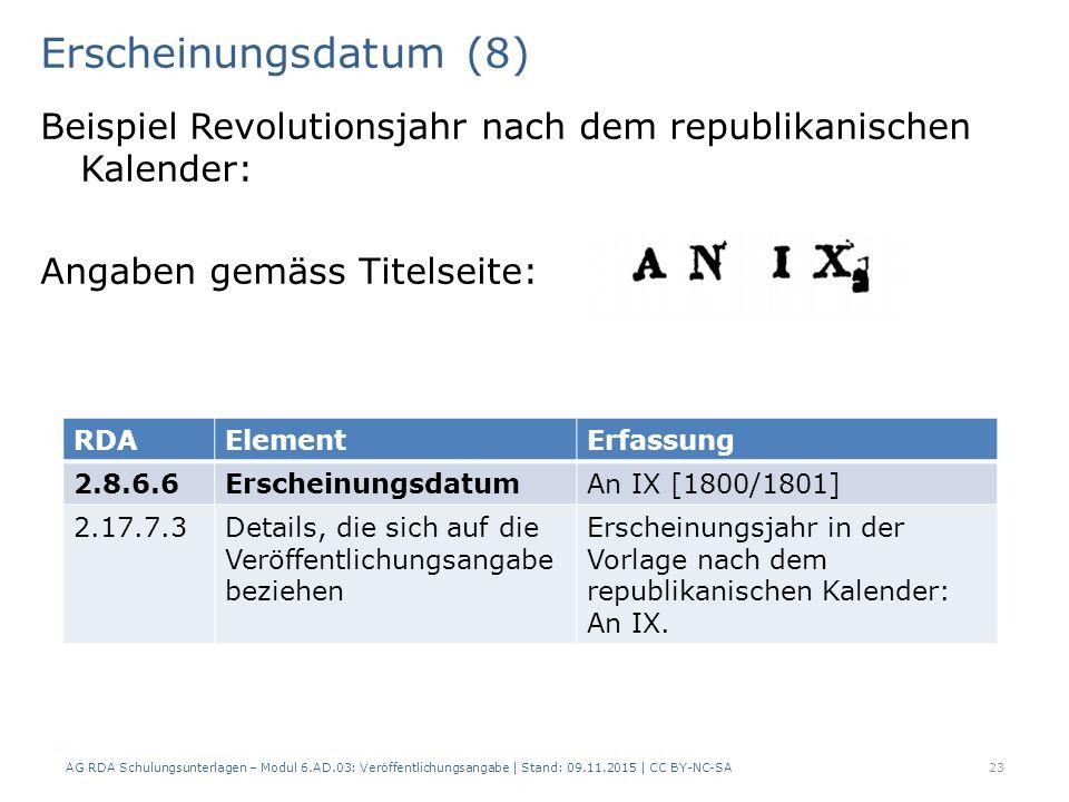 Erscheinungsdatum (8) Beispiel Revolutionsjahr nach dem republikanischen Kalender: Angaben gemäss Titelseite: AG RDA Schulungsunterlagen – Modul 6.AD.03: Veröffentlichungsangabe | Stand: 09.11.2015 | CC BY-NC-SA 23 RDAElementErfassung 2.8.6.6ErscheinungsdatumAn IX [1800/1801] 2.17.7.3Details, die sich auf die Veröffentlichungsangabe beziehen Erscheinungsjahr in der Vorlage nach dem republikanischen Kalender: An IX.
