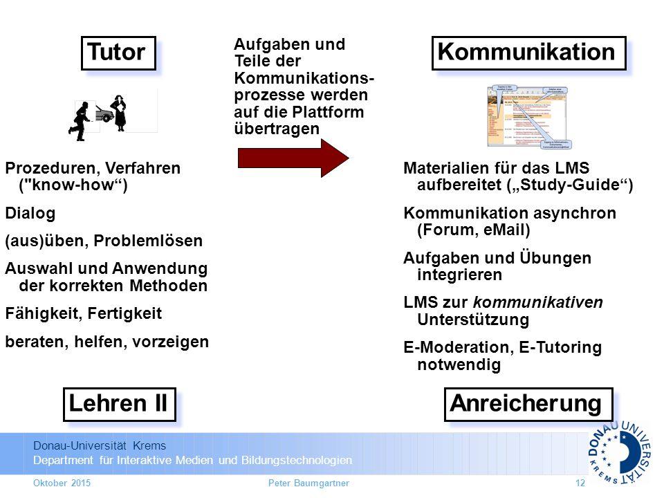 Donau-Universität Krems Department für Interaktive Medien und Bildungstechnologien Tutor Lehren II Prozeduren, Verfahren (