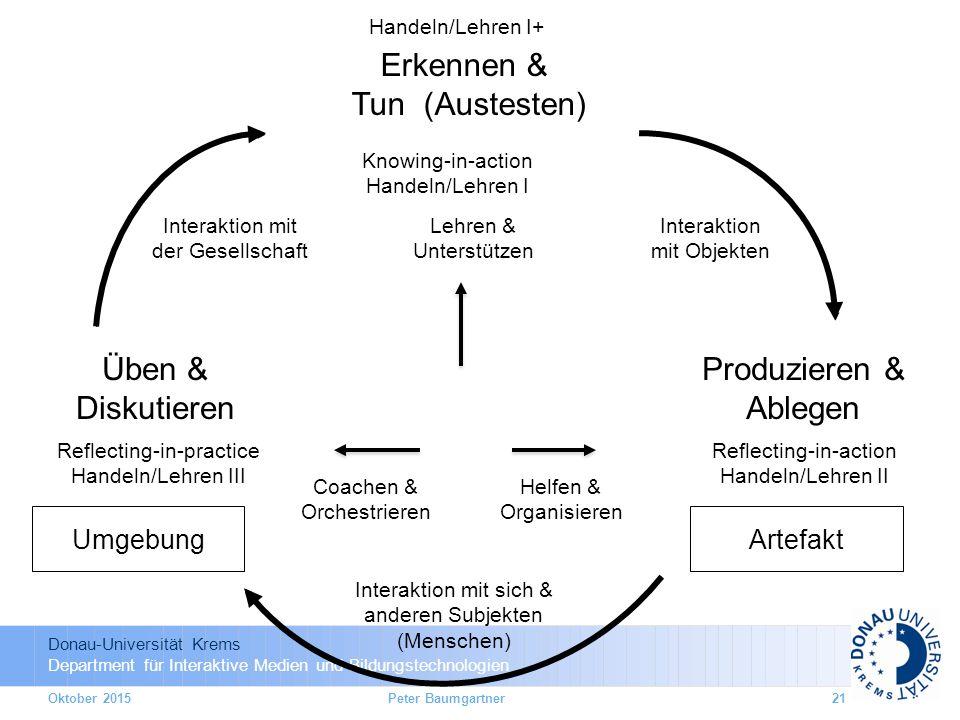 Donau-Universität Krems Department für Interaktive Medien und Bildungstechnologien Interaktion mit Objekten Interaktion mit sich & anderen Subjekten (