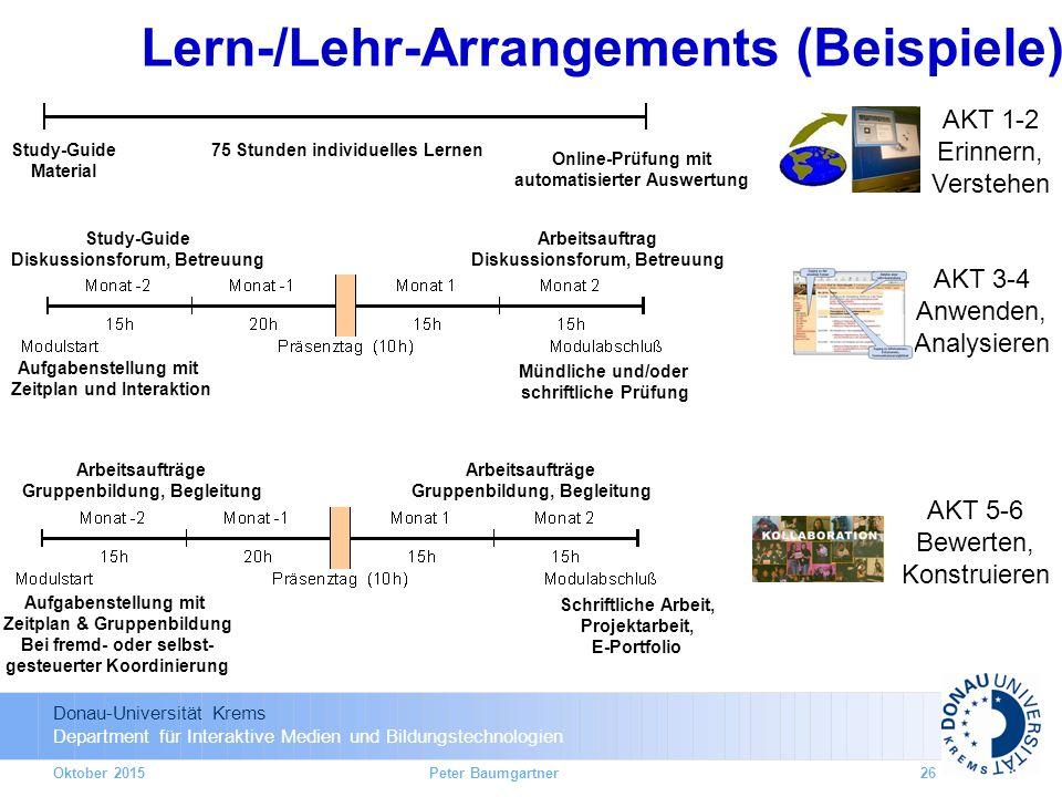 Donau-Universität Krems Department für Interaktive Medien und Bildungstechnologien 75 Stunden individuelles LernenStudy-Guide Material Online-Prüfung