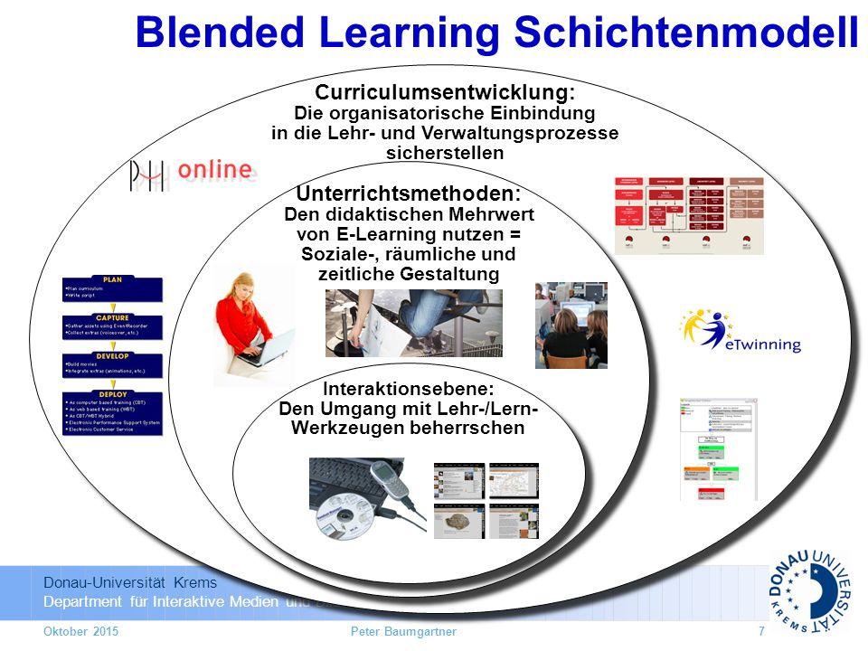 Donau-Universität Krems Department für Interaktive Medien und Bildungstechnologien Curriculumsentwicklung: Die organisatorische Einbindung in die Lehr