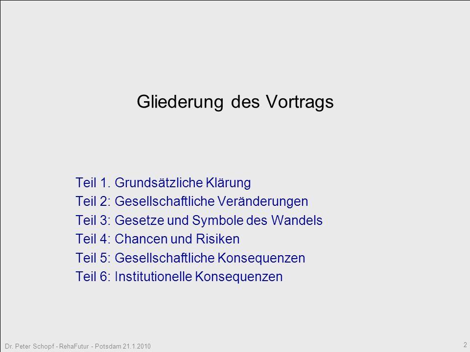 Dr. Peter Schopf - RehaFutur - Potsdam 21.1.2010 3 Teil I Grundsätzliche Klärungen