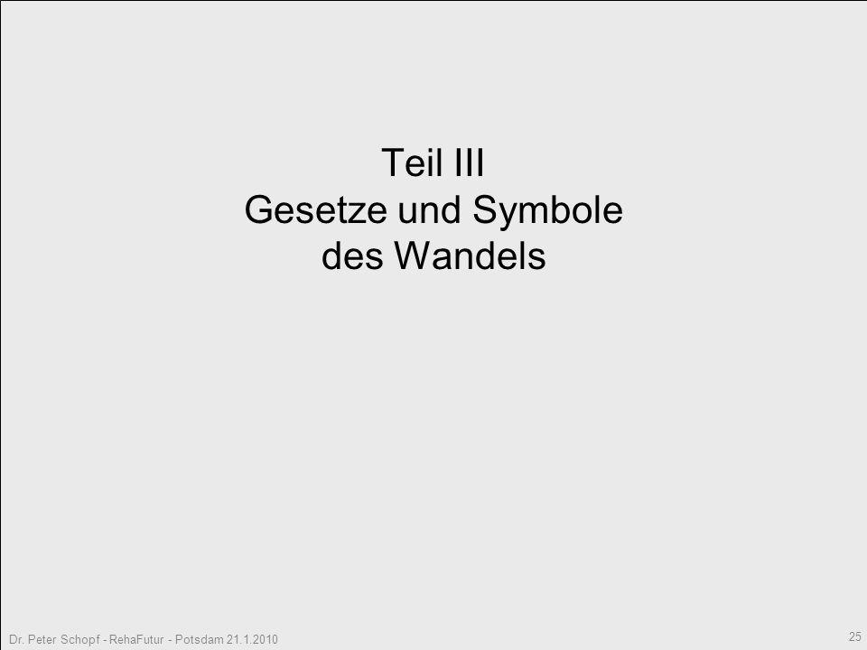 Dr. Peter Schopf - RehaFutur - Potsdam 21.1.2010 25 Teil III Gesetze und Symbole des Wandels