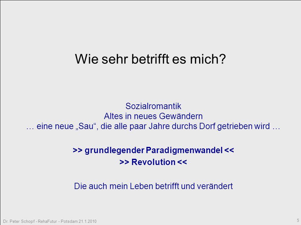 Dr.Peter Schopf - RehaFutur - Potsdam 21.1.2010 5 Wie sehr betrifft es mich.