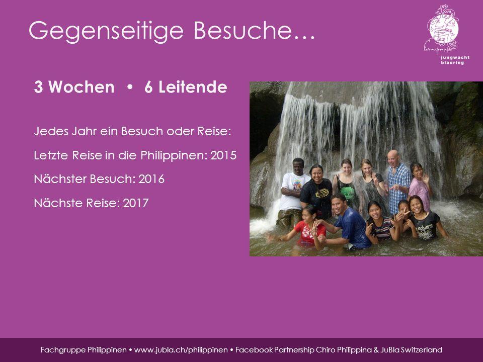 Jungwacht Blauring Schweiz, St. Karliquai 12, 6004 Luzern, 041 419 47 47, www.jubla.ch Gegenseitige Besuche… Fachgruppe Philippinen www.jubla.ch/phili