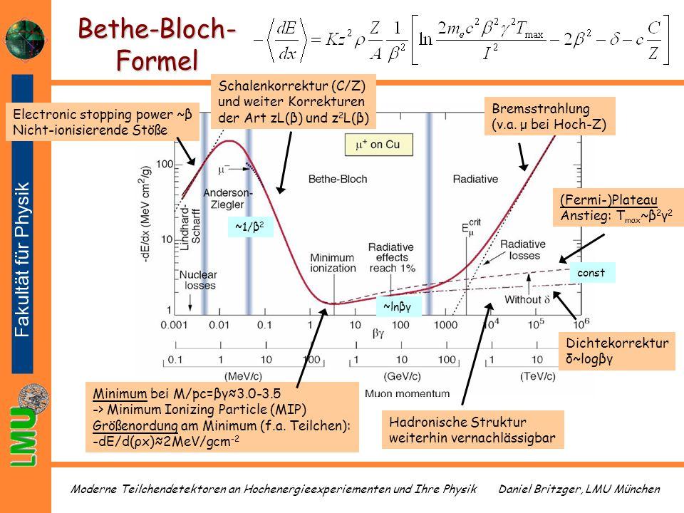 Daniel Britzger, LMU MünchenModerne Teilchendetektoren an Hochenergieexperiementen und Ihre Physik (Fermi-)Plateau Anstieg: T max ~β 2 γ 2 Bethe-Bloch