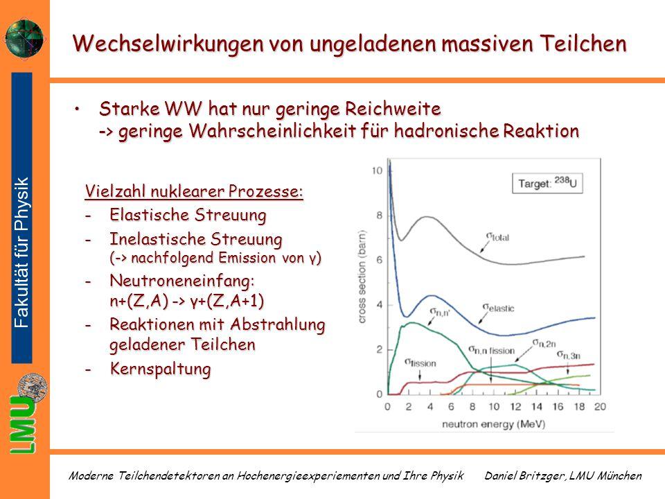 Daniel Britzger, LMU MünchenModerne Teilchendetektoren an Hochenergieexperiementen und Ihre Physik Wechselwirkungen von ungeladenen massiven Teilchen