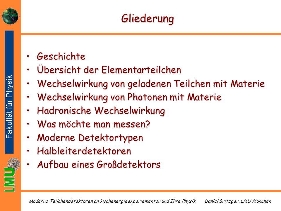 Daniel Britzger, LMU MünchenModerne Teilchendetektoren an Hochenergieexperiementen und Ihre Physik Gliederung GeschichteGeschichte Übersicht der Eleme