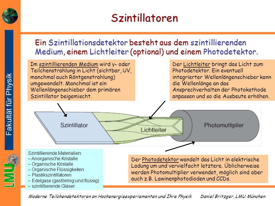 Daniel Britzger, LMU MünchenModerne Teilchendetektoren an Hochenergieexperiementen und Ihre Physik Szintillatoren Im szintillierenden Medium wird γ- o