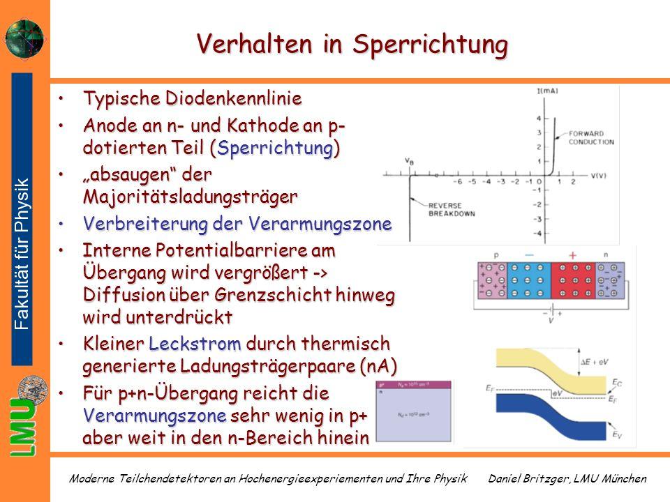 Daniel Britzger, LMU MünchenModerne Teilchendetektoren an Hochenergieexperiementen und Ihre Physik Verhalten in Sperrichtung Typische DiodenkennlinieT