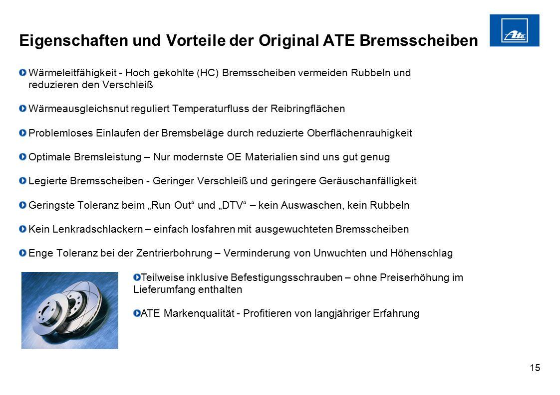 """15 Eigenschaften und Vorteile der Original ATE Bremsscheiben Wärmeleitfähigkeit - Hoch gekohlte (HC) Bremsscheiben vermeiden Rubbeln und reduzieren den Verschleiß Wärmeausgleichsnut reguliert Temperaturfluss der Reibringflächen Problemloses Einlaufen der Bremsbeläge durch reduzierte Oberflächenrauhigkeit Optimale Bremsleistung – Nur modernste OE Materialien sind uns gut genug Legierte Bremsscheiben - Geringer Verschleiß und geringere Geräuschanfälligkeit Geringste Toleranz beim """"Run Out und """"DTV – kein Auswaschen, kein Rubbeln Kein Lenkradschlackern – einfach losfahren mit ausgewuchteten Bremsscheiben Enge Toleranz bei der Zentrierbohrung – Verminderung von Unwuchten und Höhenschlag Teilweise inklusive Befestigungsschrauben – ohne Preiserhöhung im Lieferumfang enthalten ATE Markenqualität - Profitieren von langjähriger Erfahrung"""