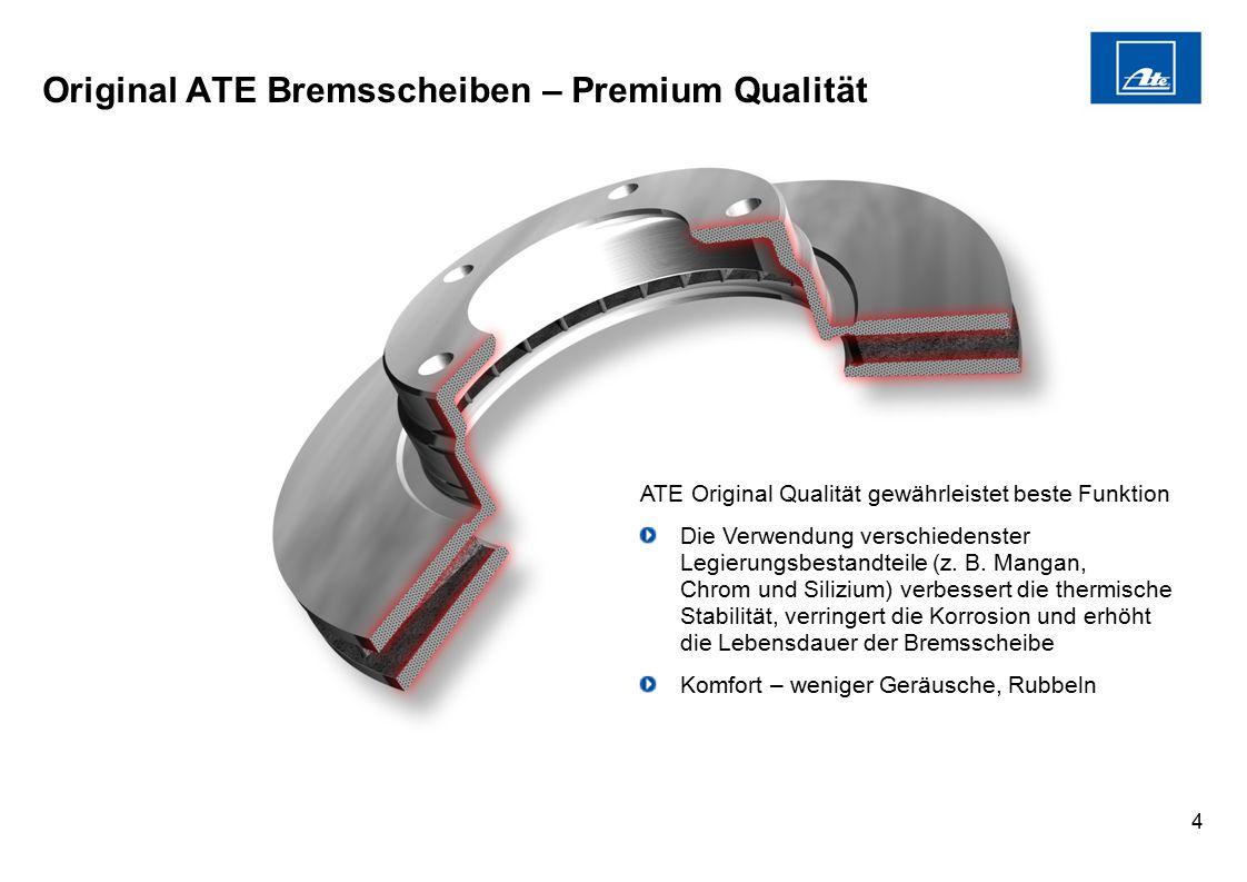 4 Original ATE Bremsscheiben – Premium Qualität ATE Original Qualität gewährleistet beste Funktion Die Verwendung verschiedenster Legierungsbestandteile (z.