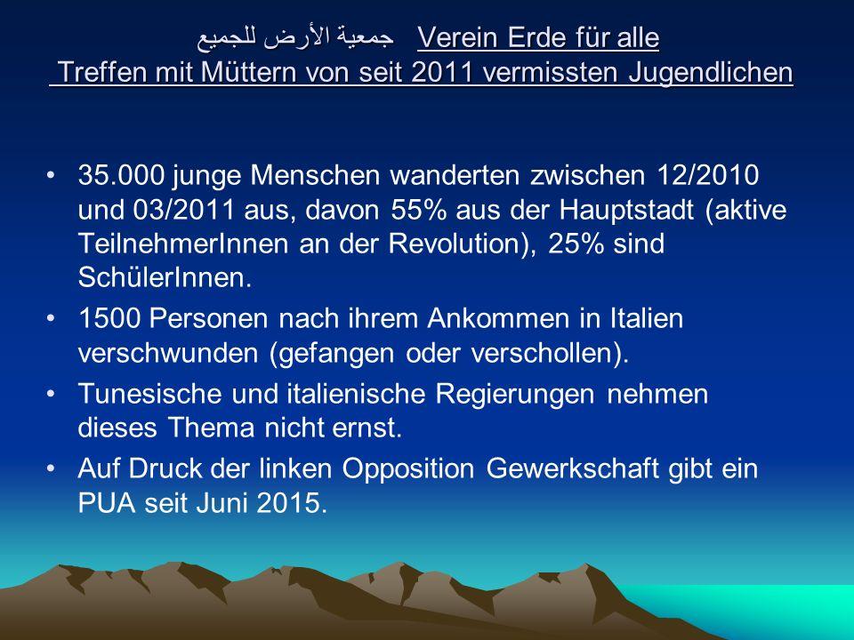 جمعية الأرض للجميع Verein Erde für alle Treffen mit Müttern von seit 2011 vermissten Jugendlichen 35.000 junge Menschen wanderten zwischen 12/2010 und