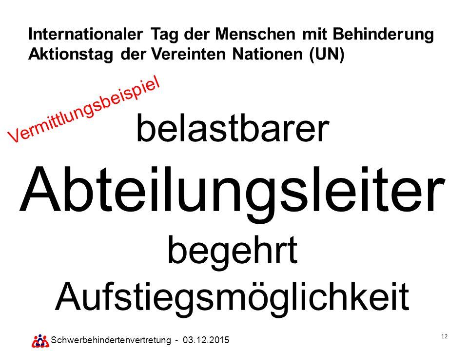 12 Schwerbehindertenvertretung - 03.12.2015 Internationaler Tag der Menschen mit Behinderung Aktionstag der Vereinten Nationen (UN) belastbarer Abteil