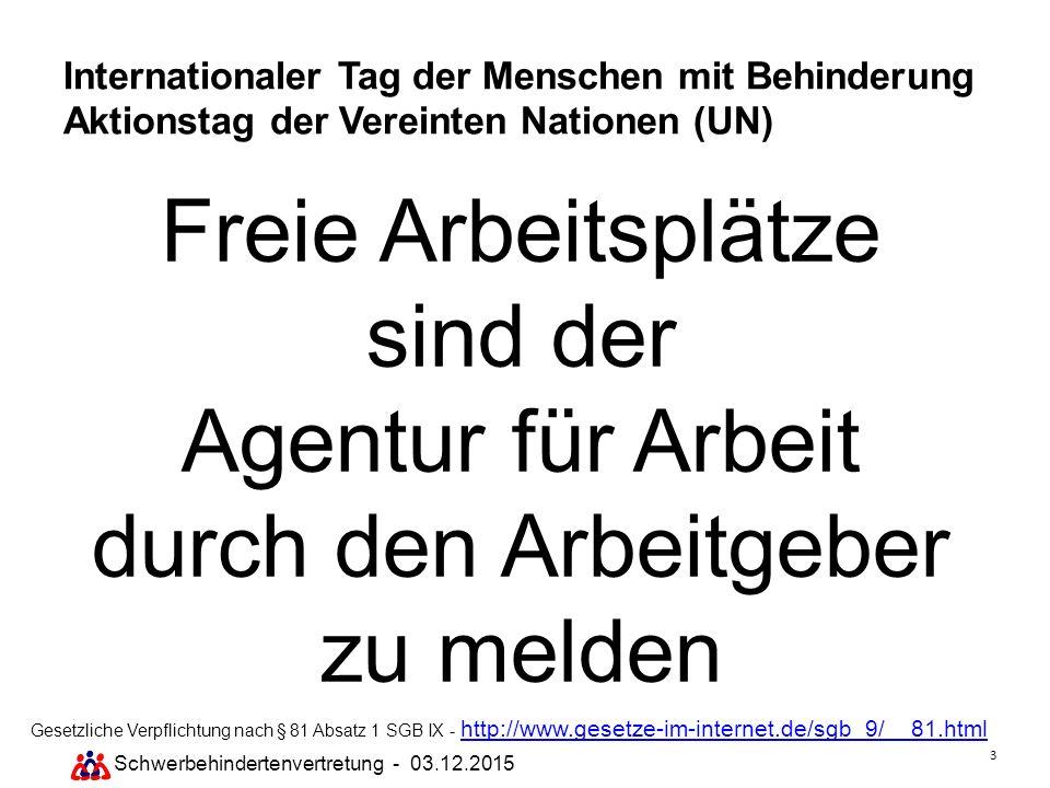 3 Schwerbehindertenvertretung - 03.12.2015 Internationaler Tag der Menschen mit Behinderung Aktionstag der Vereinten Nationen (UN) Freie Arbeitsplätze