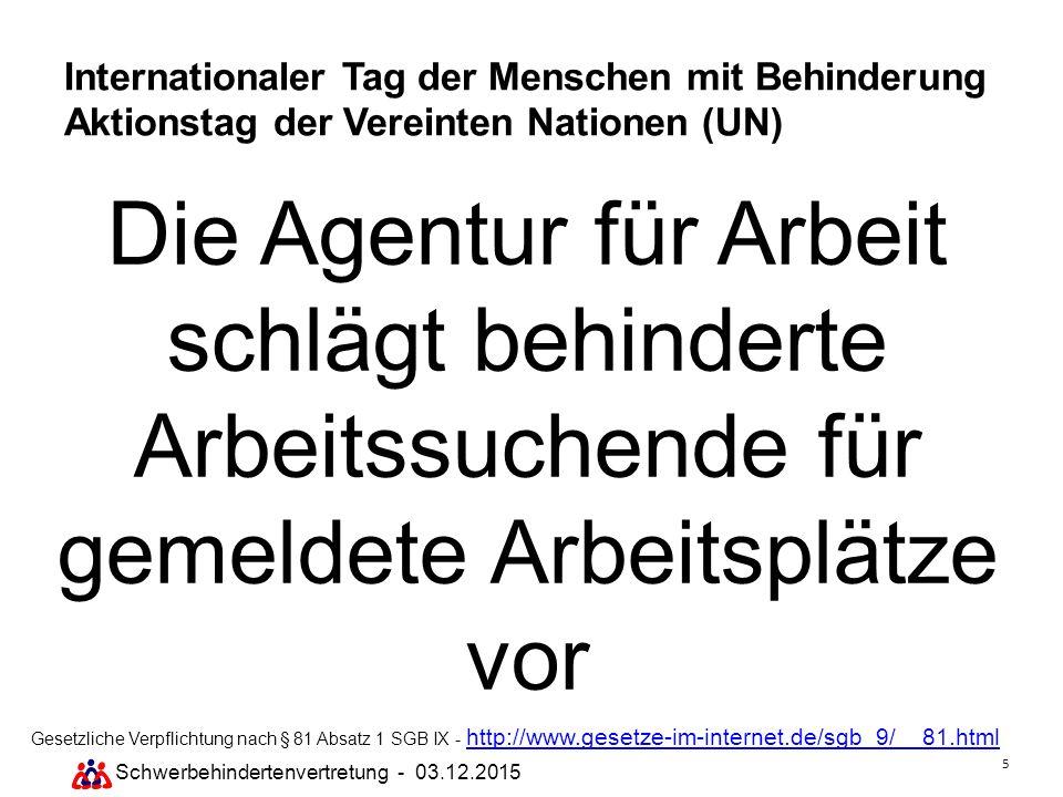 5 Schwerbehindertenvertretung - 03.12.2015 Internationaler Tag der Menschen mit Behinderung Aktionstag der Vereinten Nationen (UN) Die Agentur für Arb