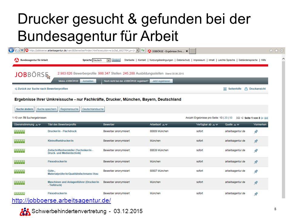8 Drucker gesucht & gefunden bei der Bundesagentur für Arbeit http://jobboerse.arbeitsagentur.de/