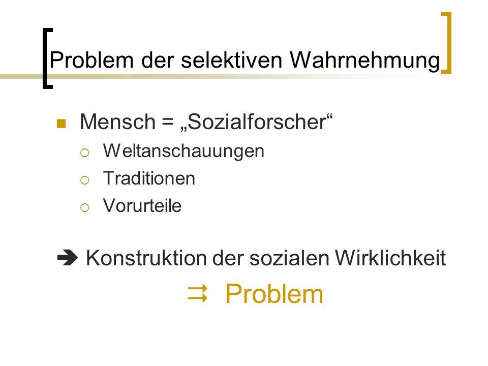 """Problem der selektiven Wahrnehmung Mensch = """"Sozialforscher  Weltanschauungen  Traditionen  Vorurteile  Konstruktion der sozialen Wirklichkeit  Problem"""