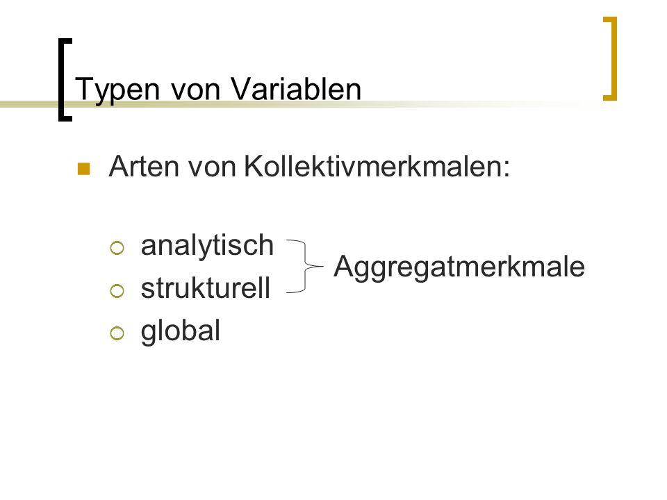 Typen von Variablen Arten von Kollektivmerkmalen:  analytisch  strukturell  global Aggregatmerkmale