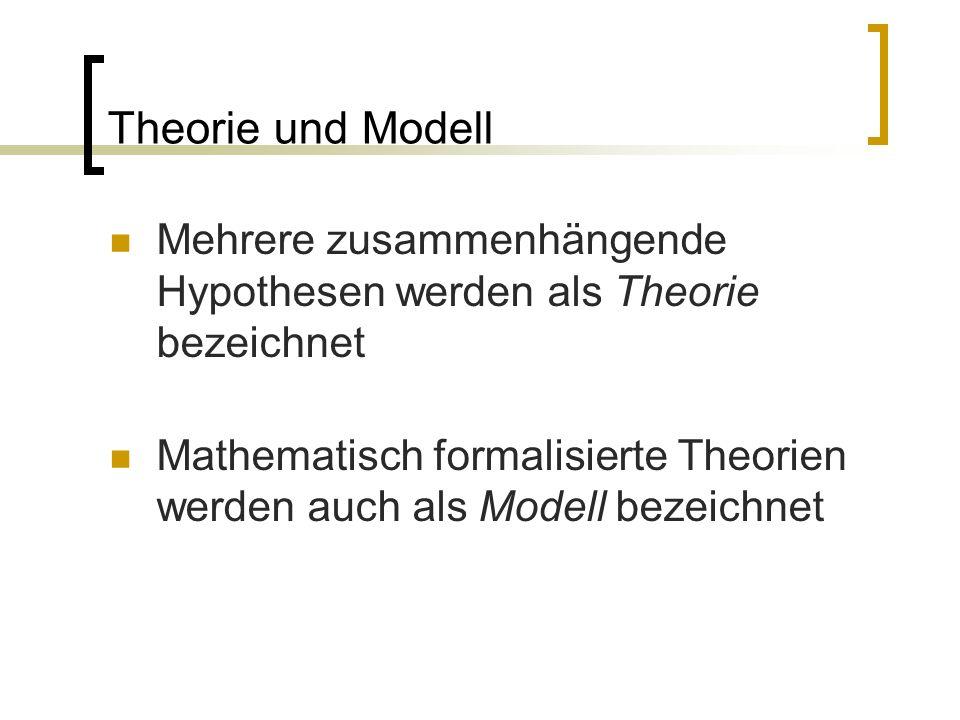 Theorie und Modell Mehrere zusammenhängende Hypothesen werden als Theorie bezeichnet Mathematisch formalisierte Theorien werden auch als Modell bezeichnet