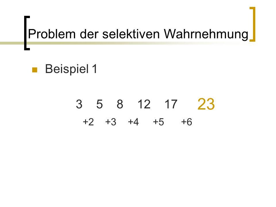 Beispiel 1 3 5 8 12 17 Problem der selektiven Wahrnehmung 23 +2 +3 +4 +5 +6