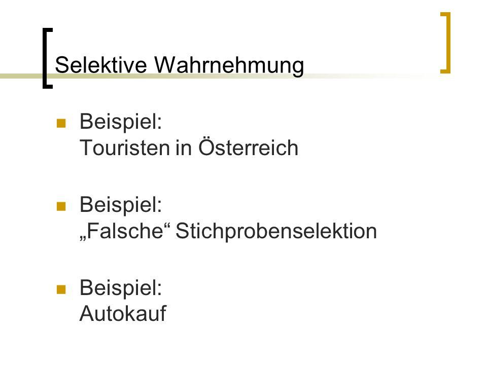 """Selektive Wahrnehmung Beispiel: Touristen in Österreich Beispiel: """"Falsche Stichprobenselektion Beispiel: Autokauf"""