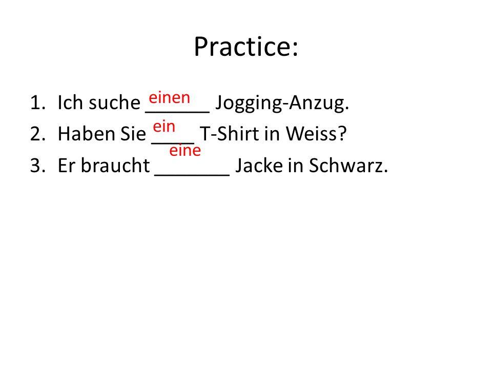 Practice: 1.Ich suche ______ Jogging-Anzug. 2.Haben Sie ____ T-Shirt in Weiss.