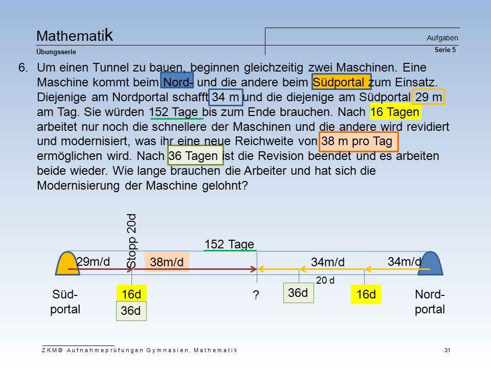 Ma t he m at i k Übungsserie Aufgaben Serie 5 ZKM© Aufnahmeprüfungen Gymnasien, Mathematik 31 Süd- portal Nord- portal 34m/d29m/d 152 Tage 16d Stopp 2