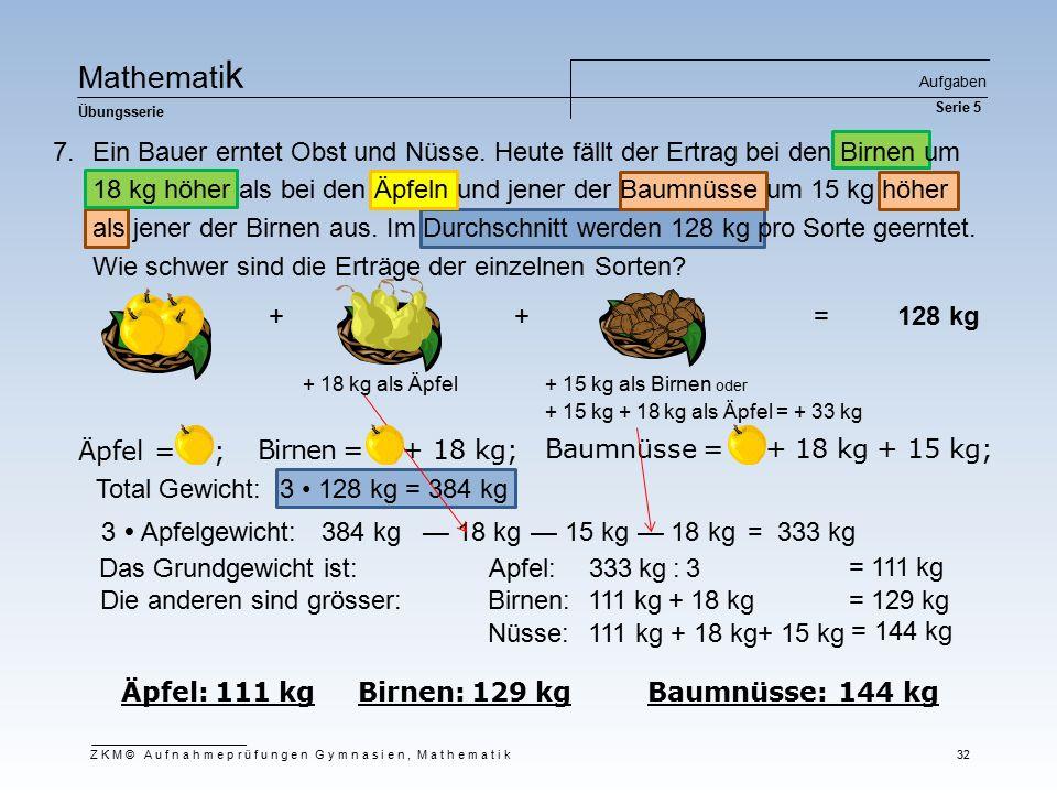 Ma t he m at i k Übungsserie Aufgaben Serie 5 ZKM© Aufnahmeprüfungen Gymnasien, Mathematik 32 Äpfel = ; Äpfel: 111 kg Birnen: 129 kg Baumnüsse: 144 kg