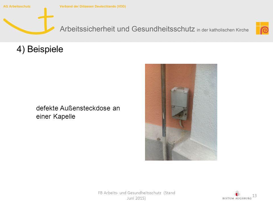 defekte Außensteckdose an einer Kapelle FB Arbeits- und Gesundheitsschutz (Stand Juni 2015) 4) Beispiele 13