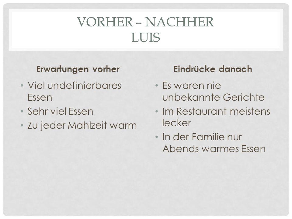 VORHER – NACHHER LUIS Erwartungen vorher Viel undefinierbares Essen Sehr viel Essen Zu jeder Mahlzeit warm Eindrücke danach Es waren nie unbekannte Ge