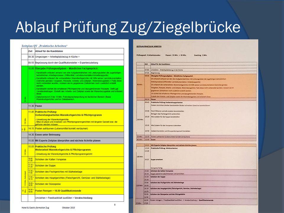 Ablauf Prüfung Zug/Ziegelbrücke