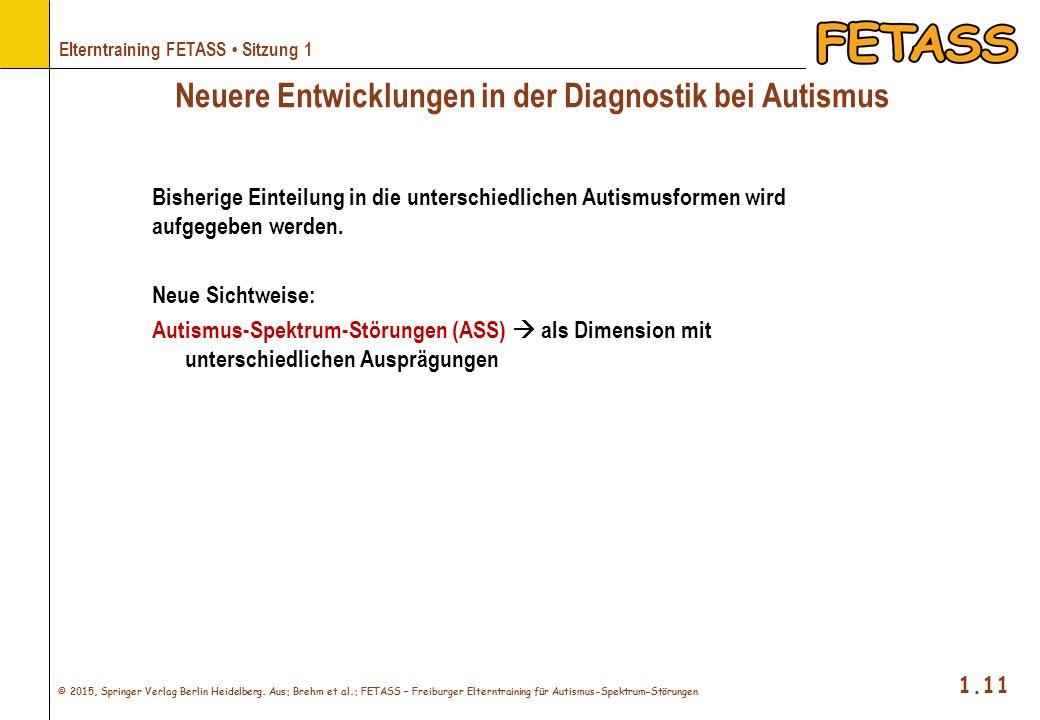 © 2015, Springer Verlag Berlin Heidelberg. Aus: Brehm et al.: FETASS – Freiburger Elterntraining für Autismus-Spektrum-Störungen 1.11 Elterntraining F