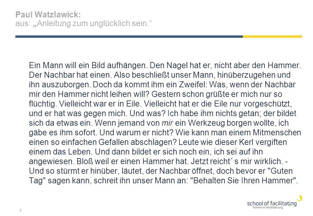 """Paul Watzlawick: aus: """"Anleitung zum unglücklich sein."""" Ein Mann will ein Bild aufhängen. Den Nagel hat er, nicht aber den Hammer. Der Nachbar hat ein"""