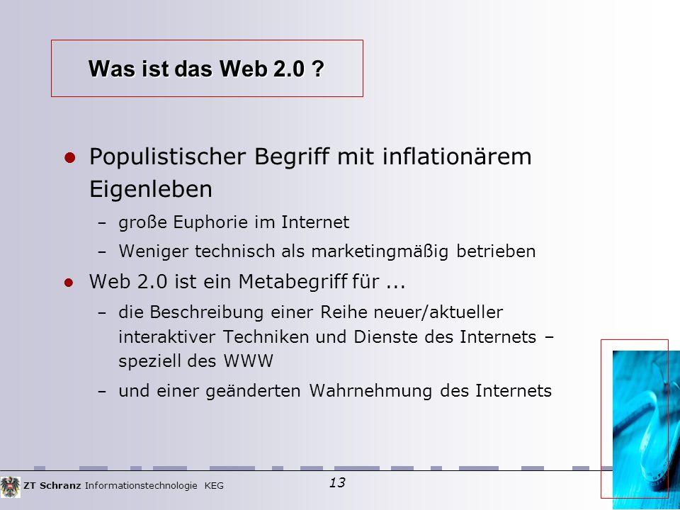 ZT Schranz Informationstechnologie KEG 13 Was ist das Web 2.0 .