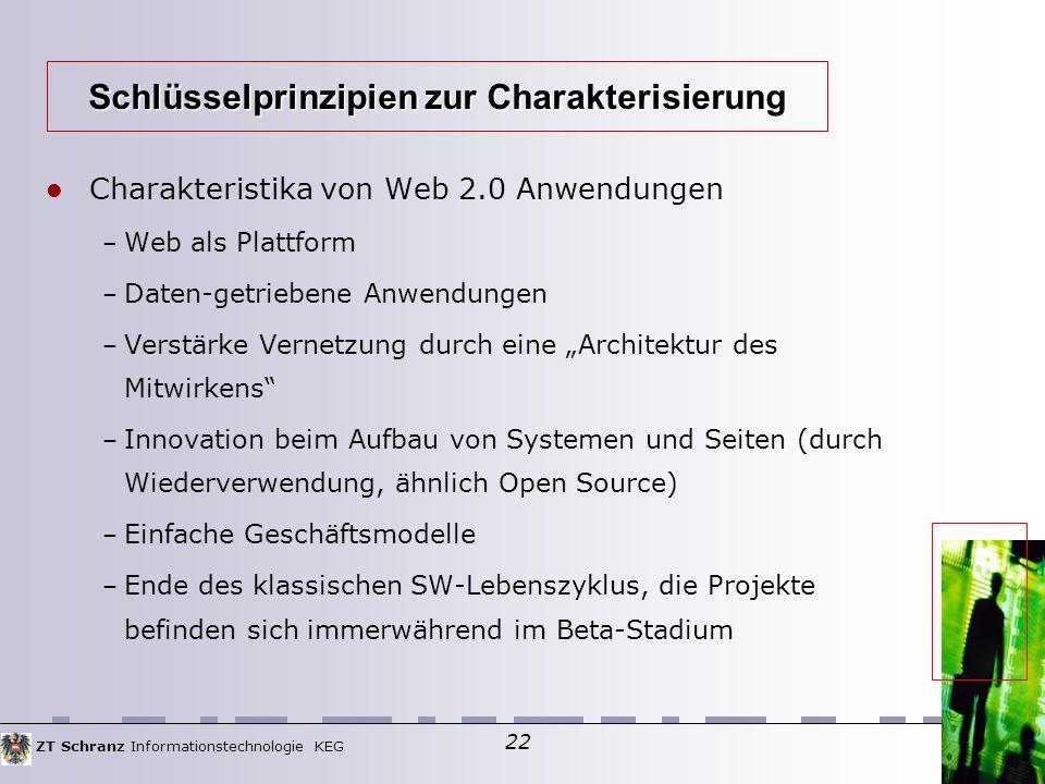 """ZT Schranz Informationstechnologie KEG 22 Charakteristika von Web 2.0 Anwendungen – Web als Plattform – Daten-getriebene Anwendungen – Verstärke Vernetzung durch eine """"Architektur des Mitwirkens – Innovation beim Aufbau von Systemen und Seiten (durch Wiederverwendung, ähnlich Open Source)  – Einfache Geschäftsmodelle – Ende des klassischen SW-Lebenszyklus, die Projekte befinden sich immerwährend im Beta-Stadium Schlüsselprinzipien zur Charakterisierung"""
