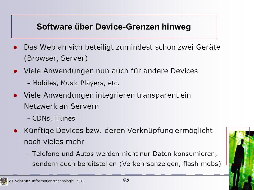 ZT Schranz Informationstechnologie KEG 45 Das Web an sich beteiligt zumindest schon zwei Geräte (Browser, Server)  Viele Anwendungen nun auch für andere Devices – Mobiles, Music Players, etc.