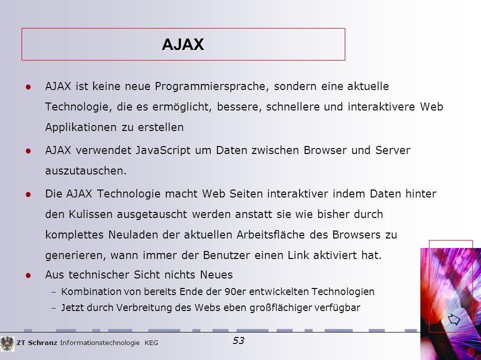 ZT Schranz Informationstechnologie KEG 53 AJAX ist keine neue Programmiersprache, sondern eine aktuelle Technologie, die es ermöglicht, bessere, schnellere und interaktivere Web Applikationen zu erstellen AJAX verwendet JavaScript um Daten zwischen Browser und Server auszutauschen.