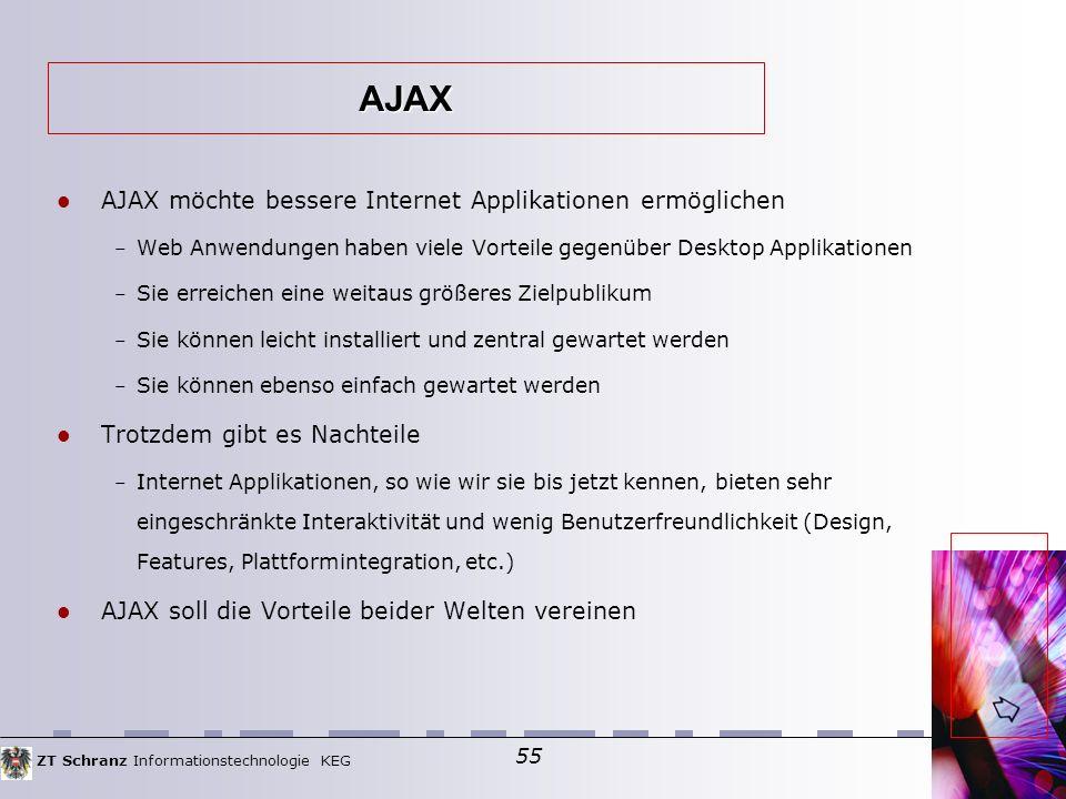 ZT Schranz Informationstechnologie KEG 55 AJAX möchte bessere Internet Applikationen ermöglichen – Web Anwendungen haben viele Vorteile gegenüber Desktop Applikationen – Sie erreichen eine weitaus größeres Zielpublikum – Sie können leicht installiert und zentral gewartet werden – Sie können ebenso einfach gewartet werden Trotzdem gibt es Nachteile – Internet Applikationen, so wie wir sie bis jetzt kennen, bieten sehr eingeschränkte Interaktivität und wenig Benutzerfreundlichkeit (Design, Features, Plattformintegration, etc.)  AJAX soll die Vorteile beider Welten vereinen AJAX