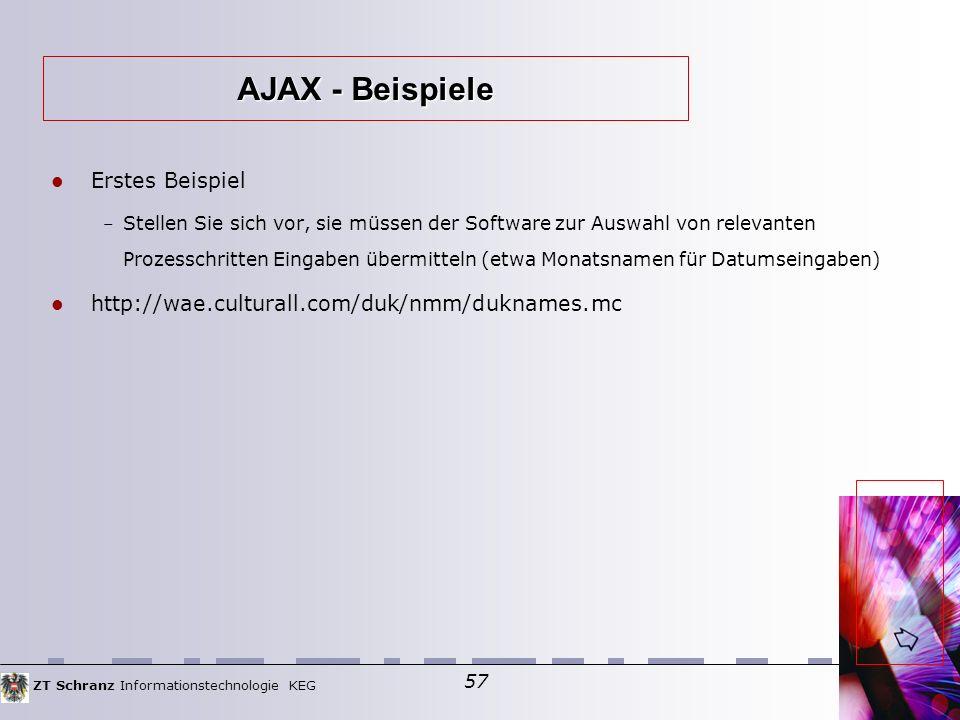 ZT Schranz Informationstechnologie KEG 57 Erstes Beispiel – Stellen Sie sich vor, sie müssen der Software zur Auswahl von relevanten Prozesschritten Eingaben übermitteln (etwa Monatsnamen für Datumseingaben)  http://wae.culturall.com/duk/nmm/duknames.mc AJAX - Beispiele