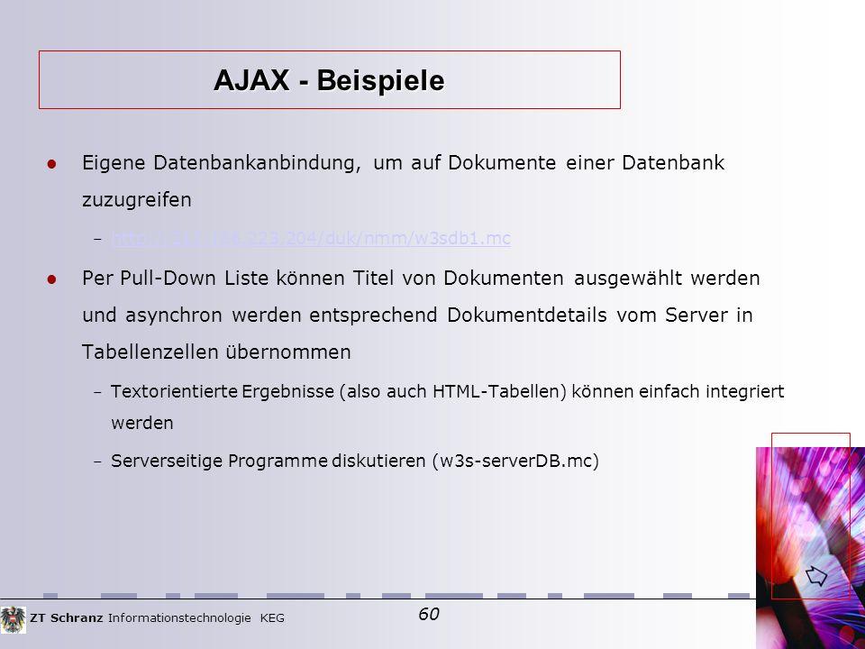 ZT Schranz Informationstechnologie KEG 60 Eigene Datenbankanbindung, um auf Dokumente einer Datenbank zuzugreifen – http://212.186.223.204/duk/nmm/w3sdb1.mc http://212.186.223.204/duk/nmm/w3sdb1.mc Per Pull-Down Liste können Titel von Dokumenten ausgewählt werden und asynchron werden entsprechend Dokumentdetails vom Server in Tabellenzellen übernommen – Textorientierte Ergebnisse (also auch HTML-Tabellen) können einfach integriert werden – Serverseitige Programme diskutieren (w3s-serverDB.mc)  AJAX - Beispiele