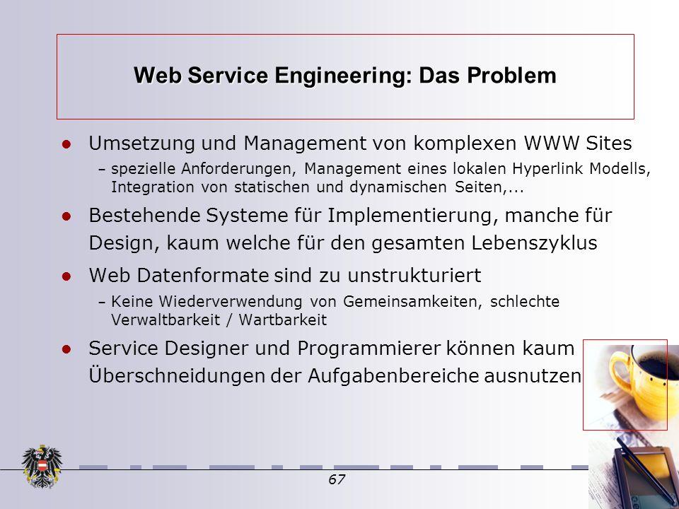 67 Web Service Engineering: Das Problem Umsetzung und Management von komplexen WWW Sites – spezielle Anforderungen, Management eines lokalen Hyperlink Modells, Integration von statischen und dynamischen Seiten,...