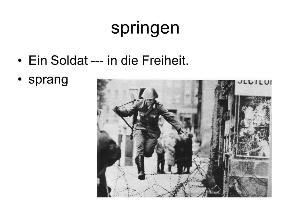 springen Ein Soldat --- in die Freiheit. sprang